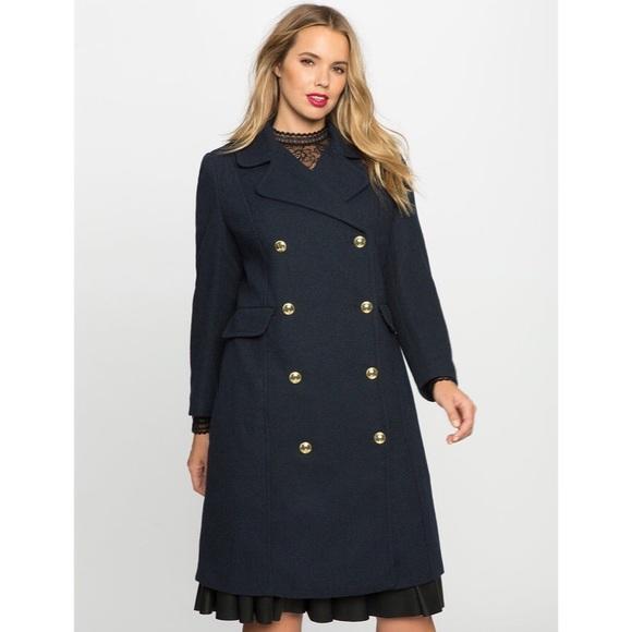 Eloquii Jackets & Blazers - ELOQUII Double Breasted Coat — Navy